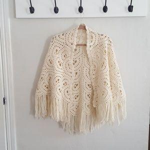 Handmade Crochet Knit Shawl Cream Ivory